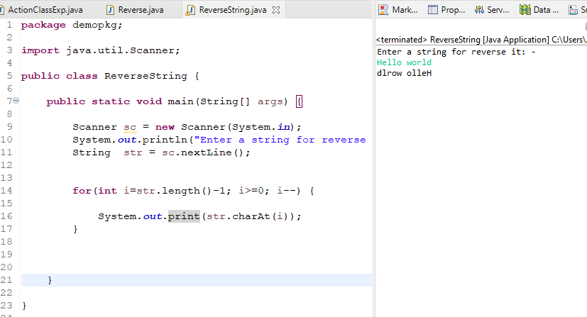 Reverse a string in java using Scanner